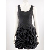 Express Cocktail Dress Size 4 Black Sleeveless Shirred Bubble Skirt Solid Womens - $27.37