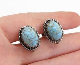 DANECRAFT 925 Silver - Vintage Cabochon Cut Turquoise Non Pierce Earrings- E9987 - $34.23