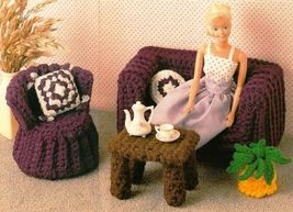X694 Crochet PATTERN ONLY Sofa Table Chair & Plant Fashion Dolls or Barbie - $7.50