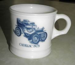 Vintage Surrey Milk Glass Shaving/Coffee Mug with 1903 Cadillac Picture - $30.00