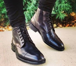 Handmade Men Black Leather Highankle Laceup Boots image 1