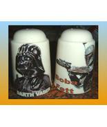 STAR WARS Darth Vader & Boba Fett CERAMIC SALT AND PEPPER Made in England - $25.00