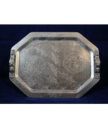 Decorative Aluminum Tray 2 figural handles - Floral - $3.60