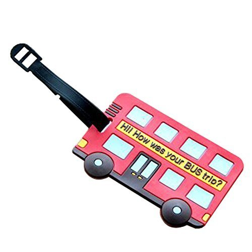 Set of 2 Luggage Tags Bag Tags Silicone Name Tags Travel Tags [Red Bus]
