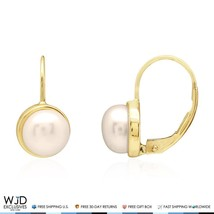 14k Solid Yellow Gold Freshwater Pearl Bezel Set Leverback Earrings - $137.00
