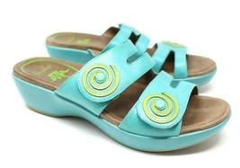 Dansko Women's 38 7.5 8 Turquoise Blue Dixie Sandals Slides Leather Artsy EUC image 1