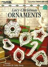 X823 Crochet PATTERN ONLY Lacy Christmas Ornaments Candy Cane Star Bell - $12.50
