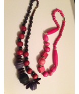 2 Painted Vintage Handmade wood Necklaces ~ Bohemian Boho Acessories - $23.26