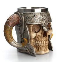 Stainless Steel Skull Mug Viking Ram Horned Pit Lord Stein Tankard Cup D... - $22.35
