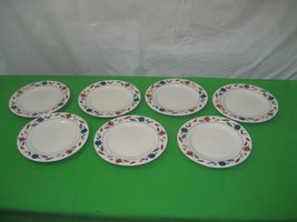 7 Porcelain China White Smooth Blue & Red Leaf Salad Plates Dish Made in... - $11.26
