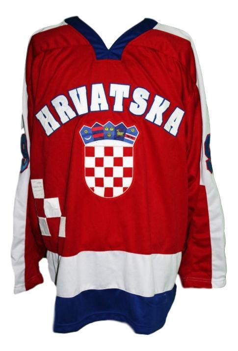 Custom croatia hrvatska retro hockey jersey red   1