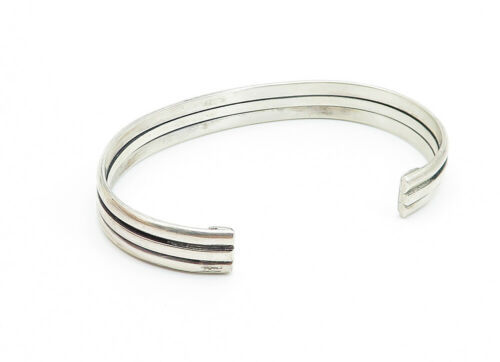 NAVAJO 925 Silver - Vintage Ribbed Design Shiny Smooth Cuff Bracelet - B6104 image 3