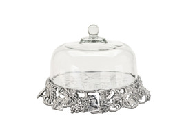 Arthur Court 102856 Grape Cake Stand Glass Dome - $185.00