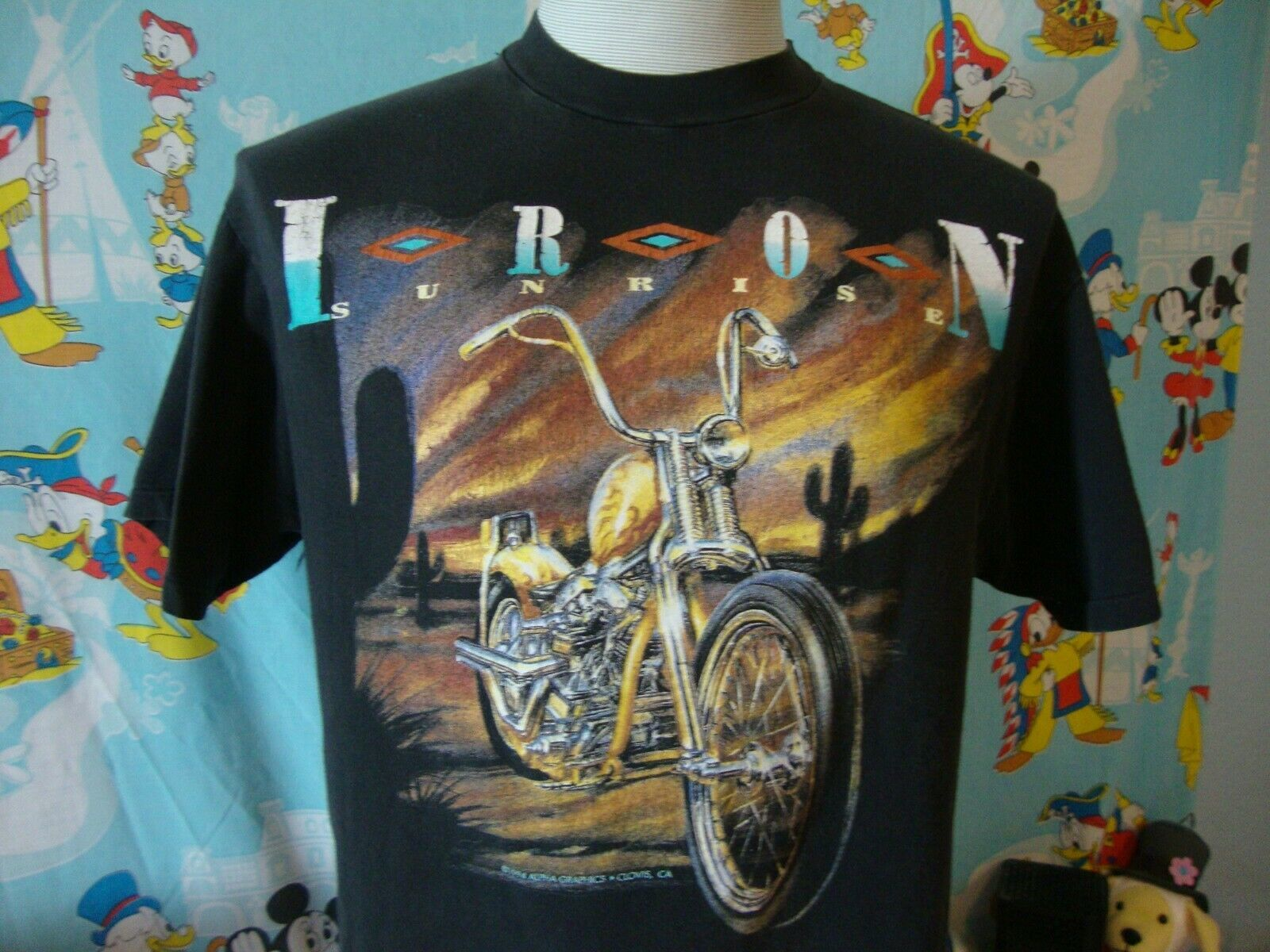 Primary image for Vintage 90's Iron Sunrise White Horse Motorcycle Biker T Shirt L