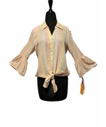 Ruby Rd Linen Blend Tie Front 3/4 Bell Sleeve Cottagecore Gypsy Blouse S... - $39.00