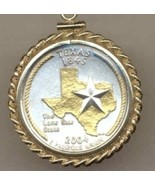 State of Texas, 2-Toned, Gold on Silver, U.S. Quarter Pendant & 14K Neck... - $132.00
