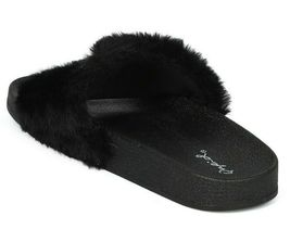 New Women Faux Fur NY - New York Open Toe Slip On Footbed Slide -17849 By Qupid image 5