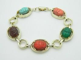 Multi-Color Lucite Carved Egyptian Scarab Gold Tone Bracelet Vintage - $24.74