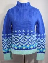 Express jeans women's sweater knit wool turtleneck blue long sleeve size M - $22.67