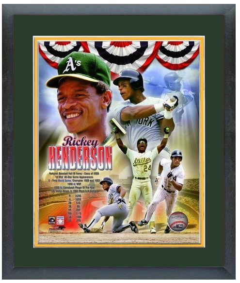 "Rickey Henderson ""Legends"" - 11 x 14 Matted and Framed Photo Montage"
