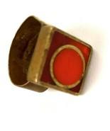 Vintage Hand Crafted Artisan Mod Metal Brass Ring Orange Inlay geometric signed - $69.25