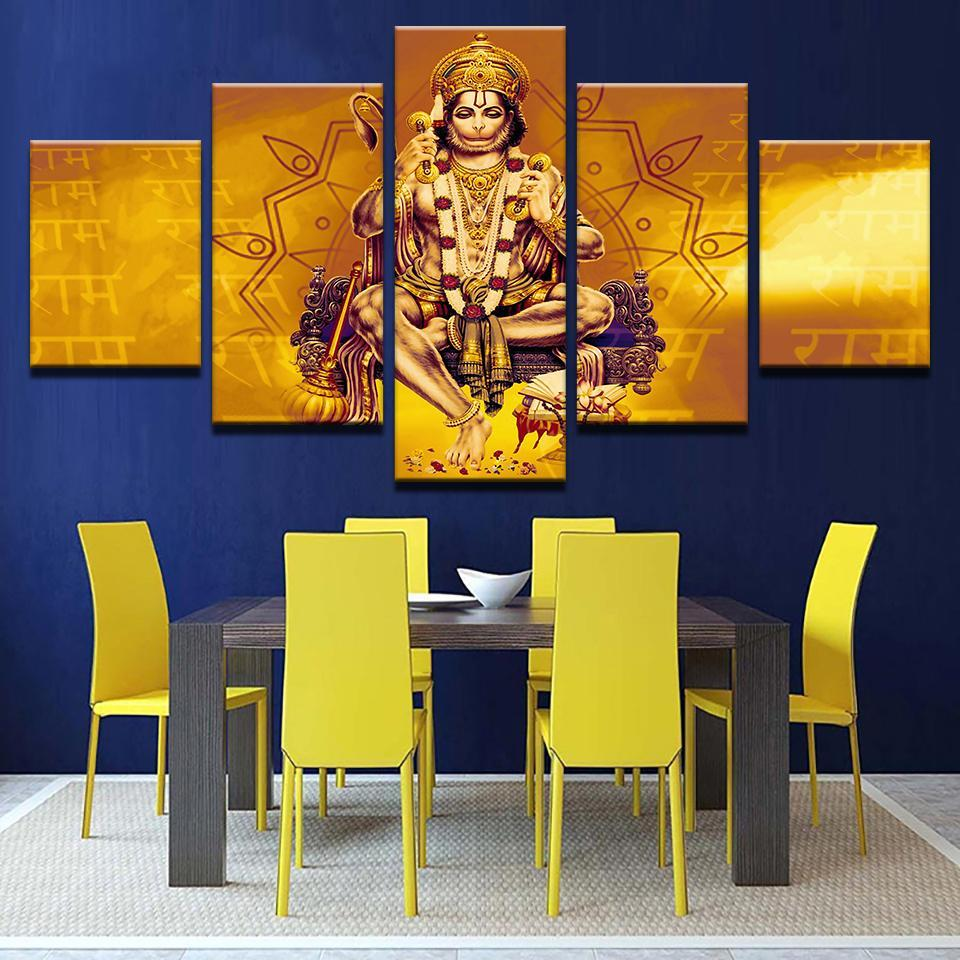 Hanuman Gold 5 Pcs Canvas Wall Art Painting and similar items