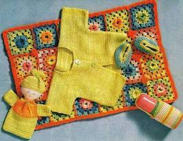 X969 Crochet PATTERN ONLY Baby on the Go Blanket Sweater Doll Bottle Cover - $7.50