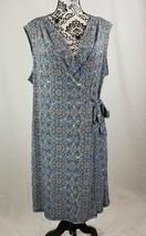 Dana Buchman womens stretch knit sleevless geo print wrap dress size xl b31 - $29.70