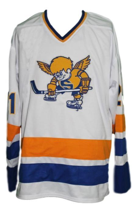 Carlson  21 custom minnesota fighting saints retro hockey jersey white   1