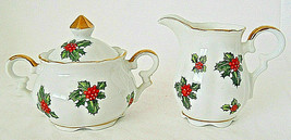 Lefton Christmas Holly sugar and creamer set 7949 hand painted gold trim - $12.34