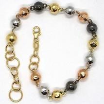 Bracelet or Jaune Blanc Rose Noir 18K 750, Sphères Alternate et Cerneaux - $470.44