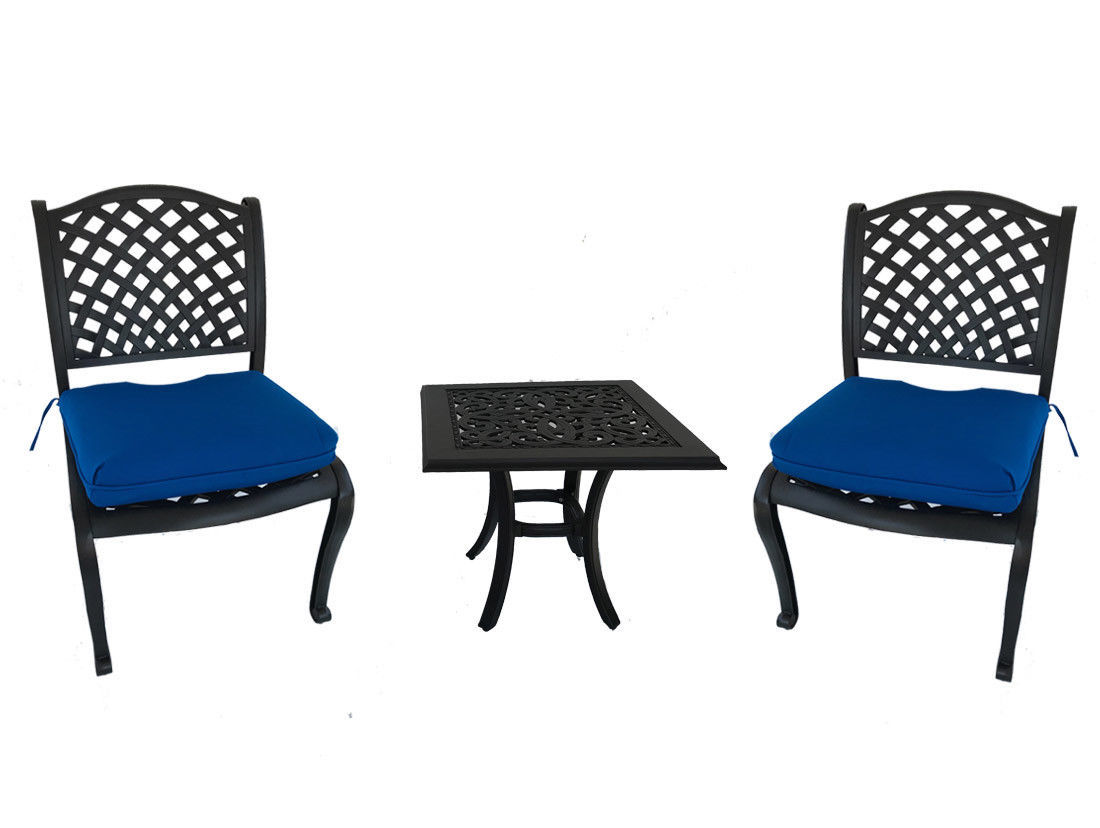 3 piece bistro patio cast aluminum set outdoor dining armless chairs end table
