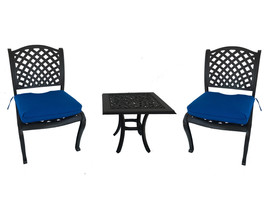 3 piece bistro patio cast aluminum set outdoor dining armless chairs end table image 1