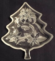 Christmas Tree Shape Nut Candy Dish Plate Clear Frosted Glass Bells Poin... - $8.49