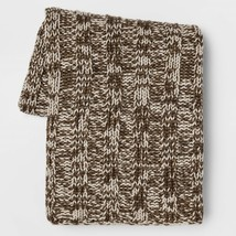"""Threshold Cable Knit Throw Blanket Brown Cream Tweed 50"""" X 60"""" - $34.64"""