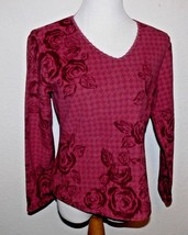 Coldwater Creek Red Fleece Rose Shirt Women Size XS 4 ek - $19.99