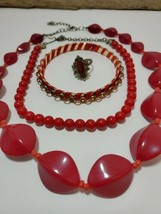 All Red Jewelry 2 Necklaces 1 Bracelet 1 Ring Faux Red Pearl Choker 4 Pi... - $24.49