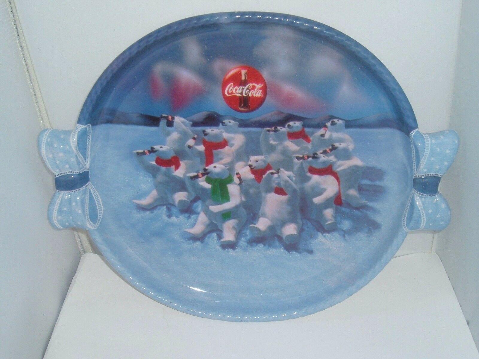 Polar Bear Christmas Holiday 1997 Coke Coca-Cola Winter Plastic Serving Tray - $15.81
