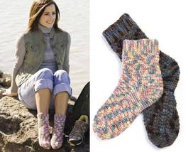 Y025 Crochet PATTERN ONLY Comfy Cozy Socks for Men and Women 2 Heights - $8.50