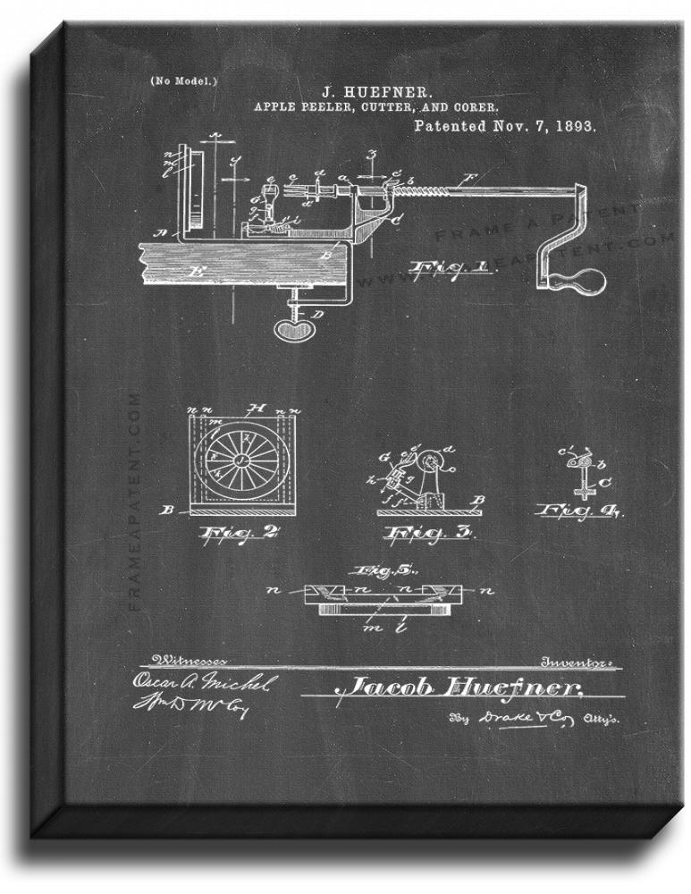 Primary image for Apple Peeler Cutter and Corer Patent Print Chalkboard on Canvas