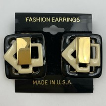 Vintage Modernist Square Pierced Earrings Black Gold Tone NOS Big - $11.84