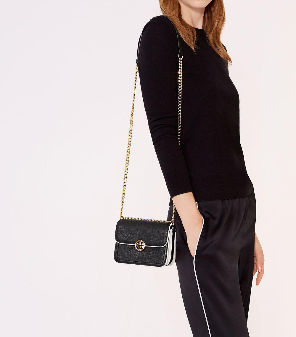 Tory Burch Duet Chain Large Convert Shoulder Bag, Black/Ivory image 2
