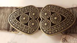 CHICO'S Fashion Waist Belt Wide CHUNKY 2 Heart CLASP Buckle Stretch Elas... - $60.93