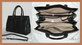 Coach Pinnacle Smooth Black Polished Leather Retro Leighton Frame CarryA... - $263.29