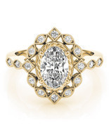Forever One Oval Moissanite Swing Halo Diamond Engagement Ring 14k Yello... - €1.450,41 EUR