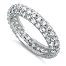 SALE-Pave Clear 5A CZ Domed Wedding Eternity Sterling Silver Band Ring-S... - $29.99