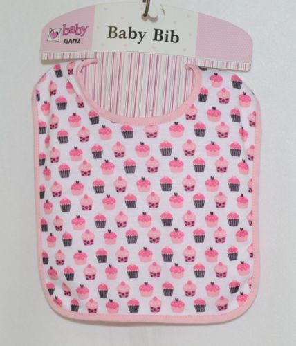 Baby Ganz BG3191 OohLaLa Bib Pink Cupcake Designs 0 Plus 100 Percent Cotton
