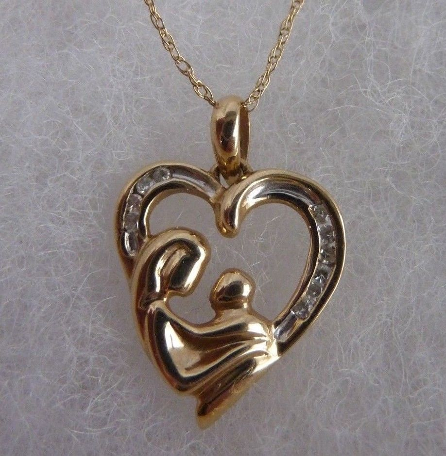 Primary image for 10KT Yellow Gold Mother and Child Diamond Necklace