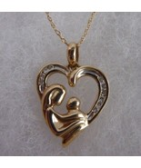 10KT Yellow Gold Mother and Child Diamond Necklace - $185.22