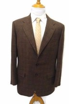 Corneliani Blazer 42R Silk Wool Flax Blend 2/3 roll Brown Windowpane Check - $29.83